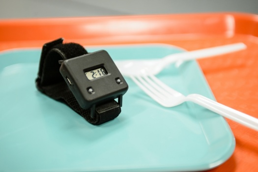 By allowing people to monitor their behavior during eating, the Bite Counter (pictured) — which is worn like a watch — can help curb environmental factors that tend to cause overeating.