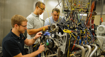 Clemson graduate students work together at CU-ICAR