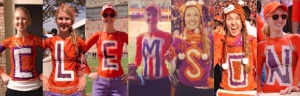 Student Leah Watts shows off her school spirit by having painted up as every letter in C-L-E-M-S-O-N for football games.