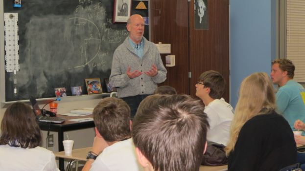 Stephen Kresovich, a geneticist who holds the Robert and Lois Coker Trustees Chair of Genetics in Clemson's College of Agriculture, Forestry and Life Sciences (CAFLS), speaks to a group of Daniel High students about his career.