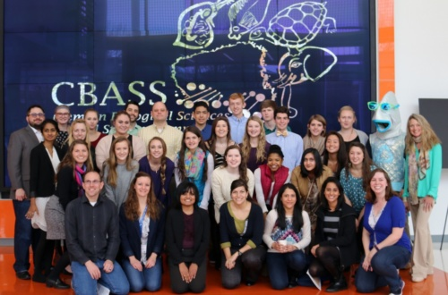 Members of Clemson Extension, Ph.D mentors from Clemson, a high school teacher and more than two dozen high school students pose during the CBASS event on Feb. 20.