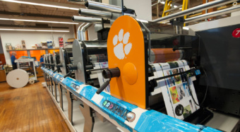 Clemson students have the benefit of learning on this high tech, flexographic press.