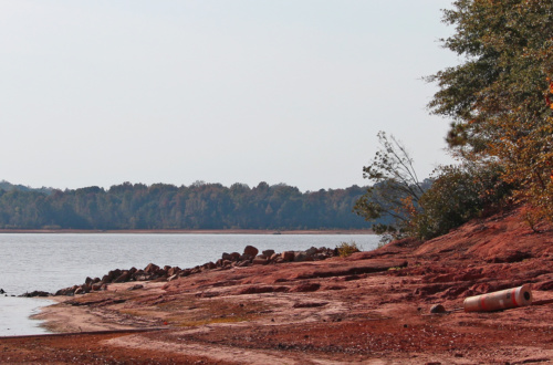 A buoy lies stranded on a stretch of exposed sand next to Lake Hartwell, which is almost 8 feet below full pond because of the 2016 drought in the Upstate.