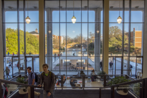 The R.M. Cooper Library at Clemson University bustles with activity.