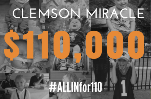 Clemson Miracle dance marathon fundraiser graphic.