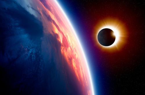 This is an image created by NASA of a total solar eclipse as seen from Earth.