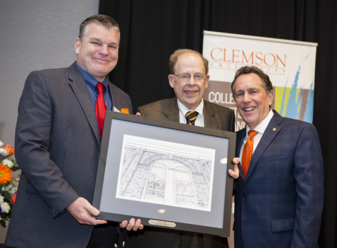 Mike Jackson, chair of Construction Science and Management, is shown with former chair Roger Lisa and Dean Richard E. Goodstein.