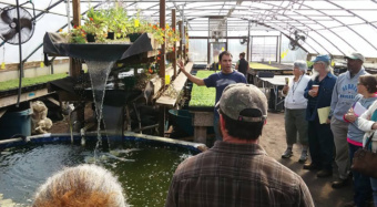 Participants in the South Carolina New and Beginning Farmer Program learn about irrigation.