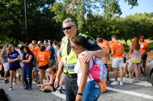 Capt. Brad Rhodes of CUPD and a Clemson student