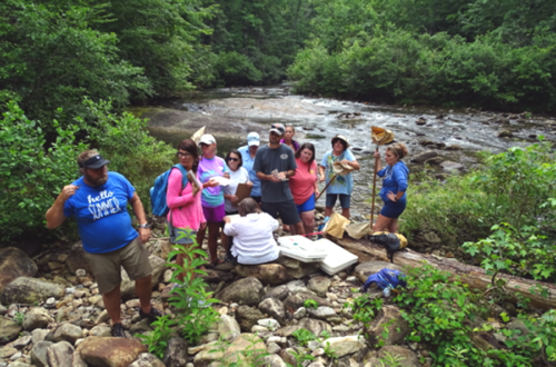 Teachers in the environmental education course search Howard Creek for aquatic insects and assess the water quality.
