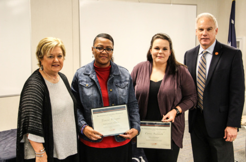 Twana Wright and Corri Sudduth, honored with quarterly CUPD awards in October, pictured with Vice President for Student Affairs Almeda Jacks and Chief of Police Greg Mullen