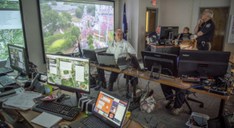 Members of Clemson's emergency operations team at unified command during a football gameday.