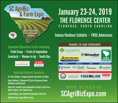 Learn about where our food and fiber comes from during the 2019 South Carolina AgriBiz Expo in Florence Jan. 23-24.