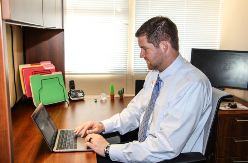 Glenn Spurlin III, Clemson's director of Orientation programs, in his office at the Edgar A. Brown University Union