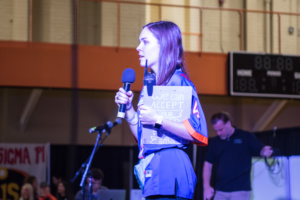 Morgan Witherspoon of Clemson Miracle addresses the 2019 Dance Marathon participants.