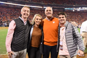 (L-R) Parker Tilley, Logan Young, President Jim Clements and Mason Foley enjoy the pregame scene before Clemson football's 56-35 win over South Carolina in November 2018.