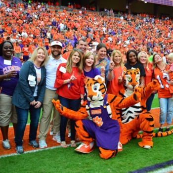 Teachers are honored at a Clemson football game