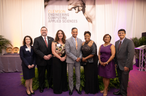 The 2019 honorees posed for a picture with Dean Anand Gramopadhye after a gala at Memorial Stadium. Those pictured are (from left): Allison Godwin, I.V. Hall, Chelsea L. Ex-Lubeskie, Gramopadhye, Denise Rutledge Simmons, Vanessa Ellerbe Wyche and Amol V. Janorkar.