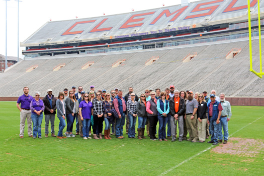 Horticulture teams take a tour of Memorial Stadium.