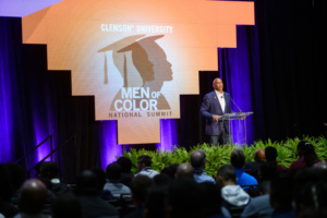 Dr. Pedro Noguera speaking to audience at the Greenville Convention Center. Image credit: University Relations