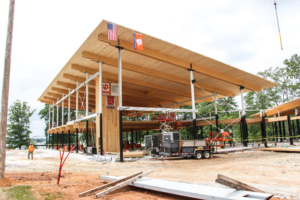 Southern yellow pine cross-laminated timber manufactured by IB X-LAM in Dothan, Alabama is the key feature in the design of Clemson's new Outdoor Education Center, slated to open later this fall.